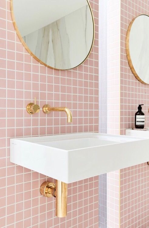 Pretty Bathroom Tile In Pink Bathroom Inspiration Bathroom