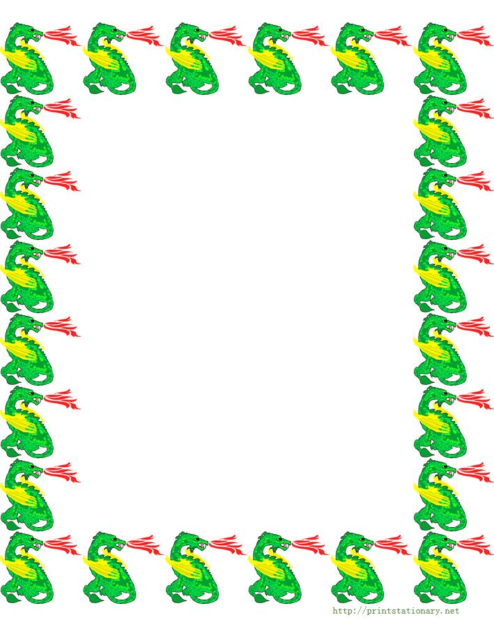 Free Dogs And Puppy Border Stationery Paper, Free Printable Dinosaur  Stationary Border Paper, Free  Bordered Paper Printable