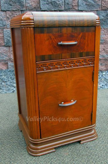 Vintage 1930s ART DECO Waterfall Bedroom NIGHTSTAND By Picks4u, $275.00