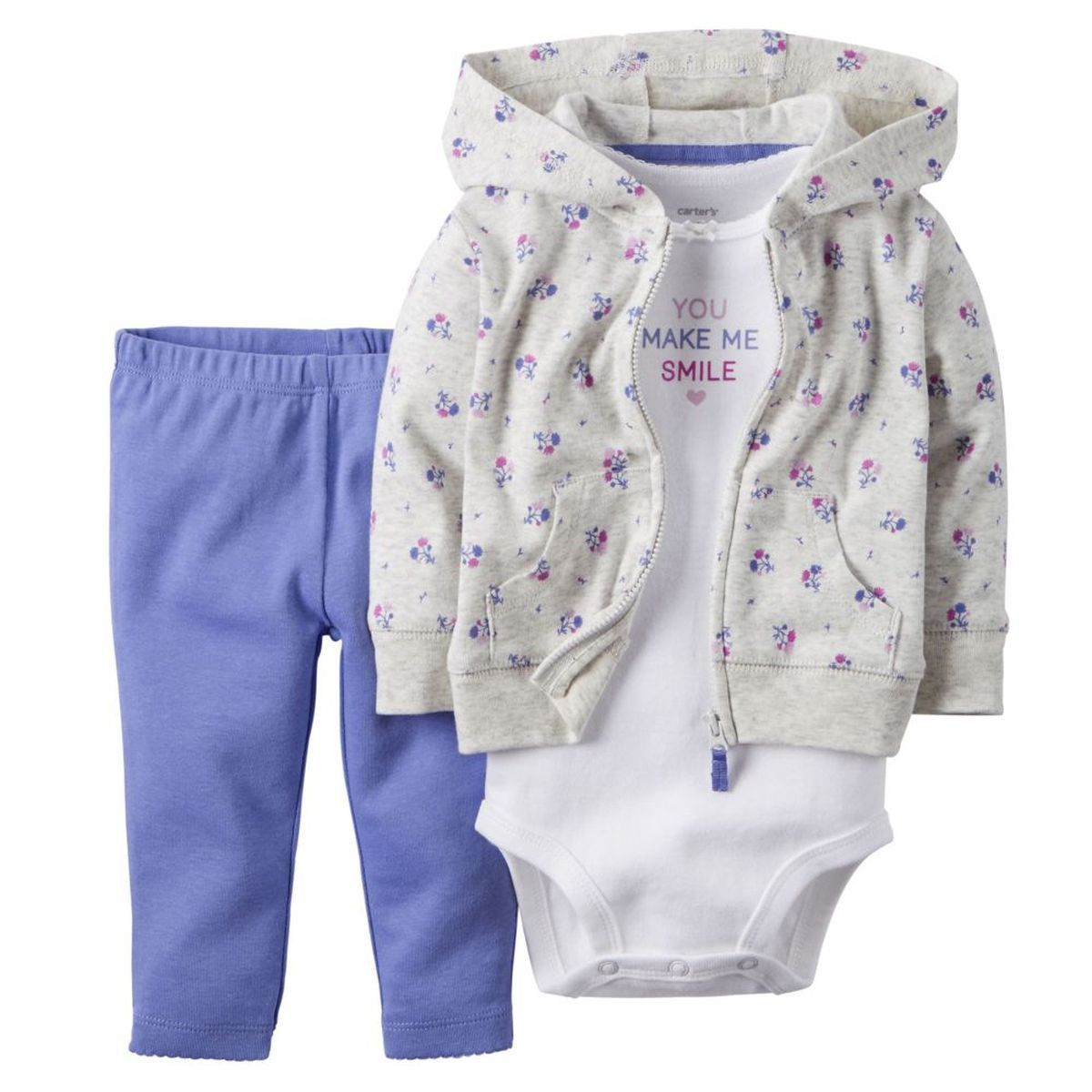 New//NWT~CARTERS~HOODIE//CARDIGAN PANTS SET~BABY GIRLS