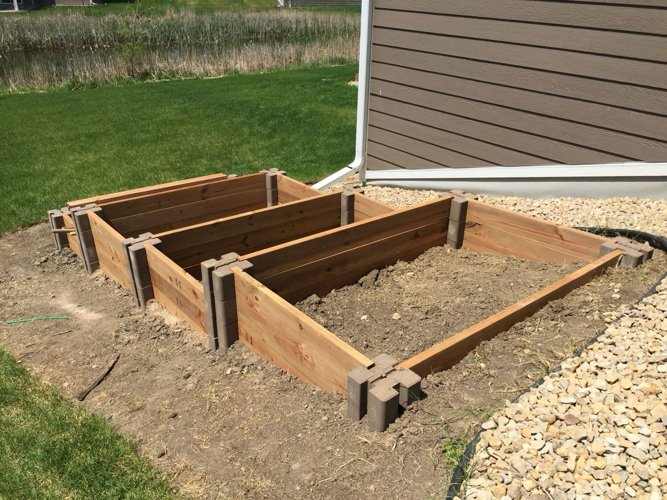 raised garden bed on sloped area
