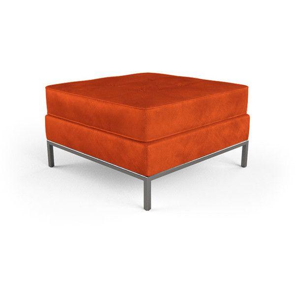 Fantastic Franklin Mid Century Modern Orange Leather Ottoman 1 199 Squirreltailoven Fun Painted Chair Ideas Images Squirreltailovenorg