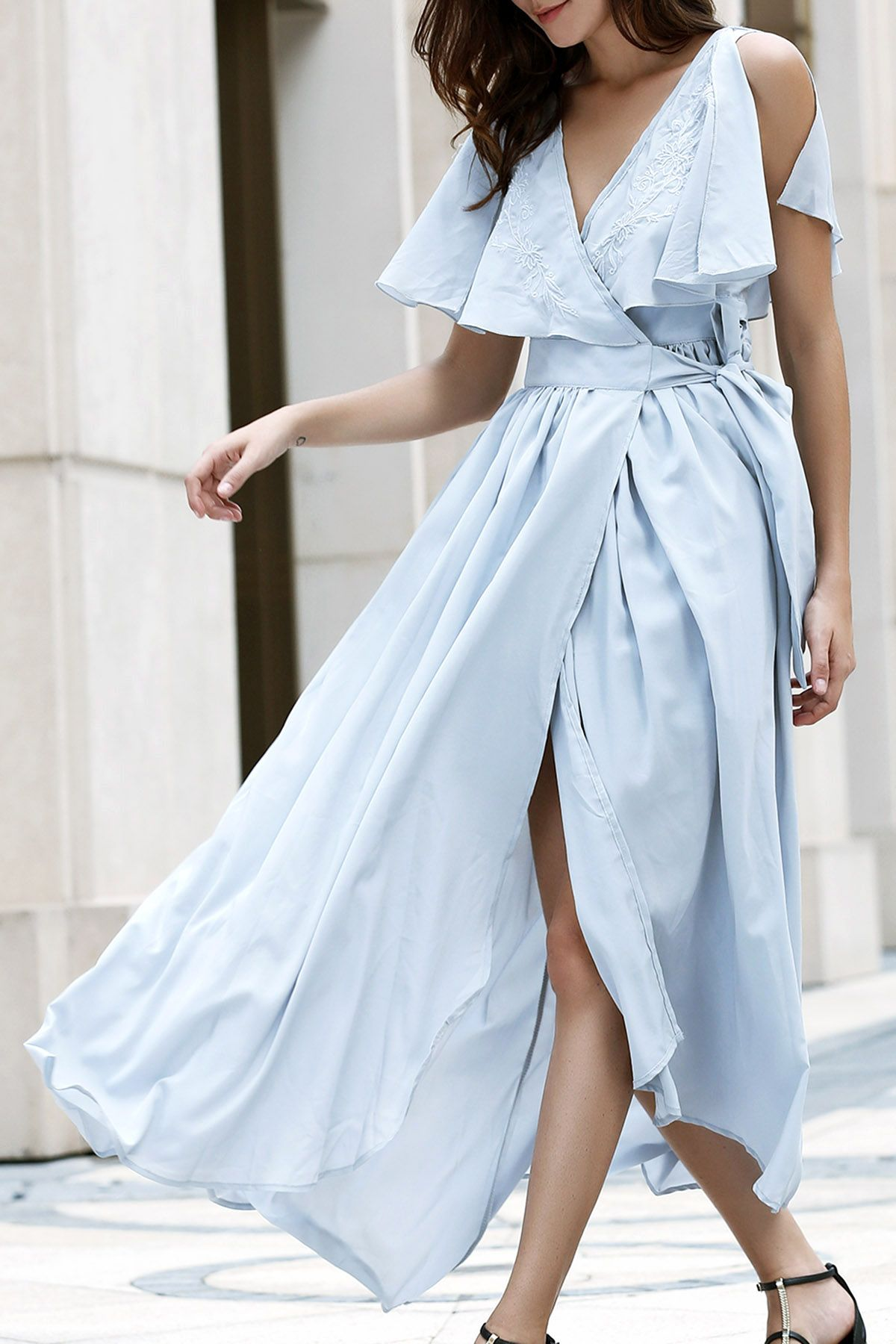 High slit flounce ruffles plunging neck sleeveless dress idfta