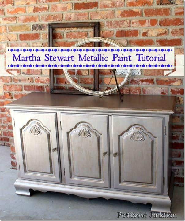 diy metallic furniture. Painted Furniture Martha Stewart-metallic-paint-tutorial-diy Diy Metallic