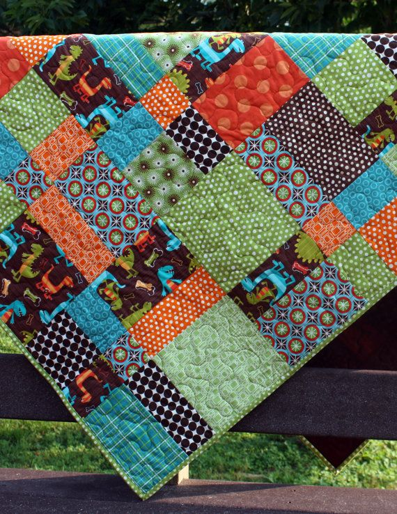 baby boy quilt for toddler bed or throw // dinosaur hopscotch in ... : toddler bed quilts boy - Adamdwight.com
