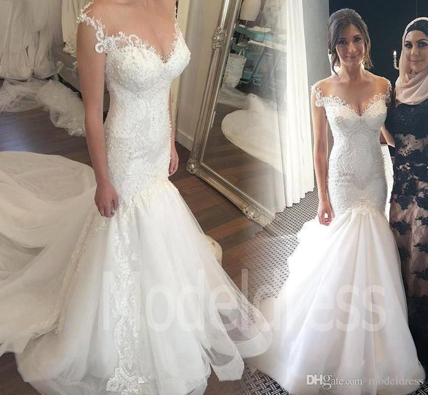 Gorgeous mermaid lace wedding dresses 2017 pearls illusion for Mermaid wedding dress with detachable train