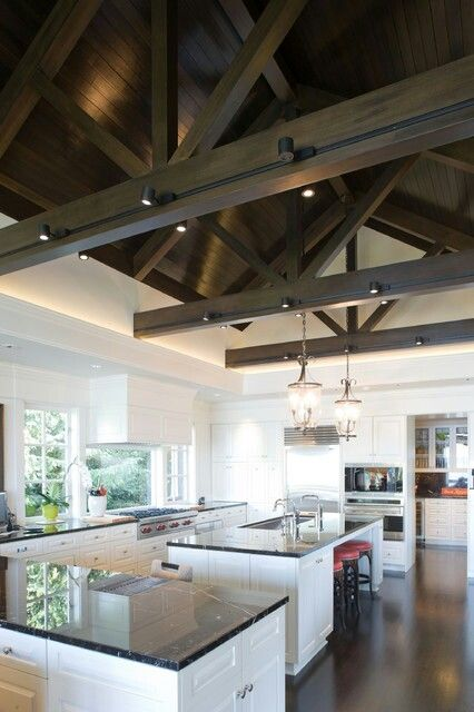 Kitchen With High Ceiling Beams Farmhouse Kitchen Lighting Contemporary Kitchen