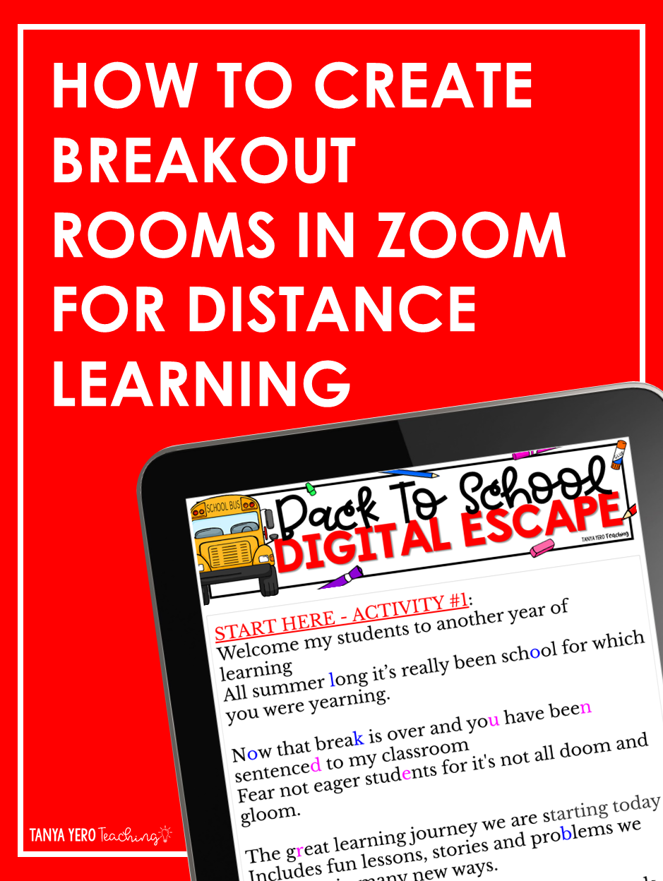 How To Create Zoom Breakout Rooms For Distance Learning In 2020 Distance Learning Elementary Technology Education And Literacy