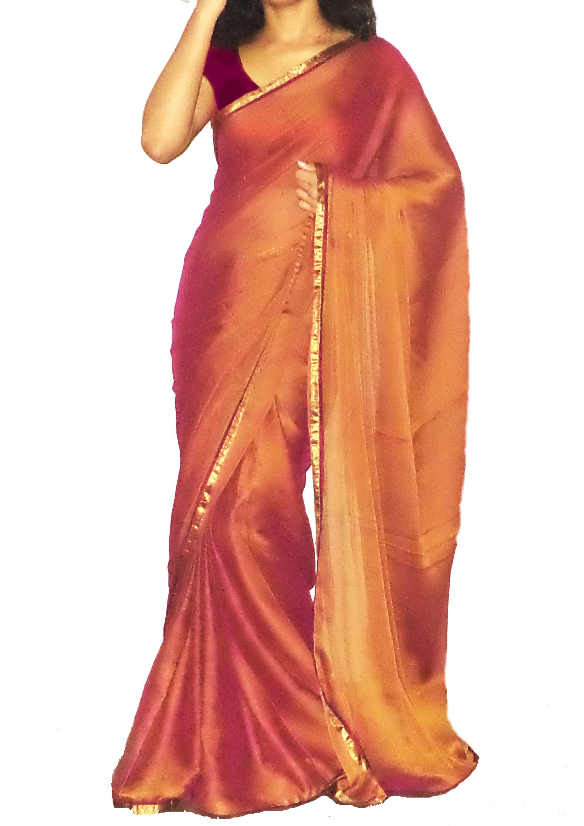 Chiffon Sari Party Wear Indian Wedding Plain Saree With Blouse Piece Color-White