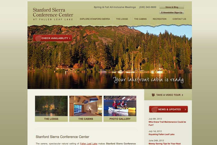 Stanford Sierra Conference Center is a California conference center resort and retreat location for educational, scientific, social and corporate groups. -- Website by Blue Tent Marketing; view more samples of Nonprofit Web Development & Design: http://www.bluetentmarketing.com/portfolio/nonprofit