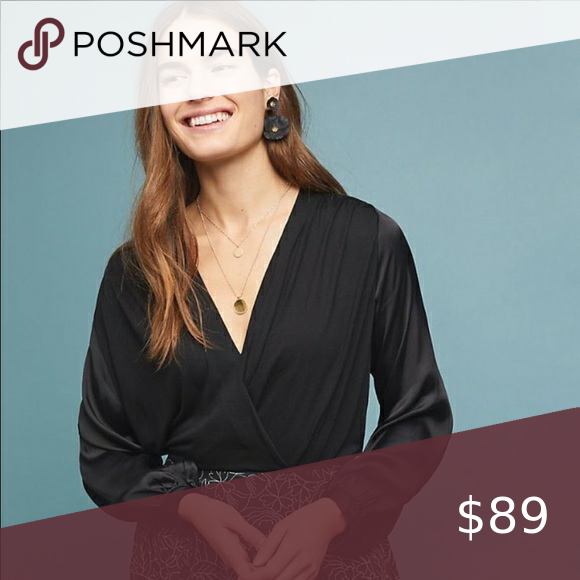 Anthro Black Drape Surplice Satin Sleeve Blouse