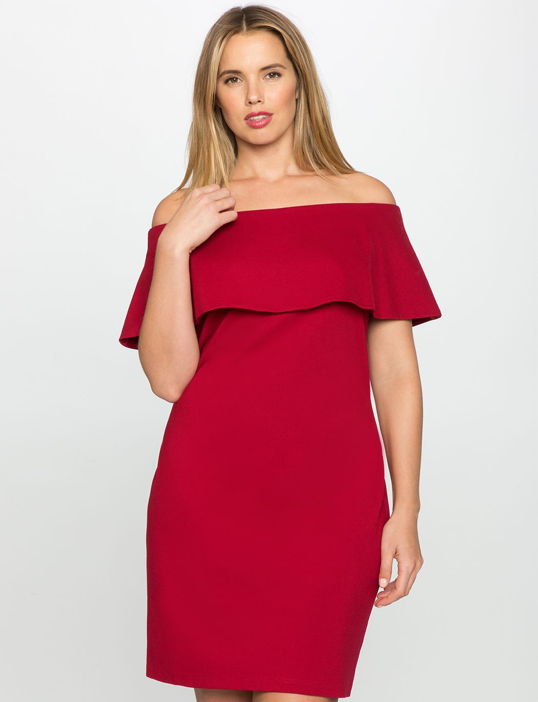off the shoulder dress with overlay | women's plus size dresses