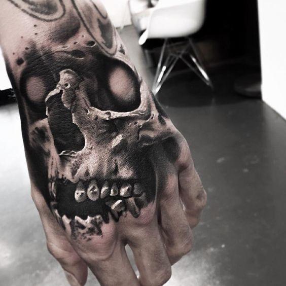 3d Skull Tattoo For Men Hand Tattoos For Guys Skull Hand Tattoo Hand Tattoos