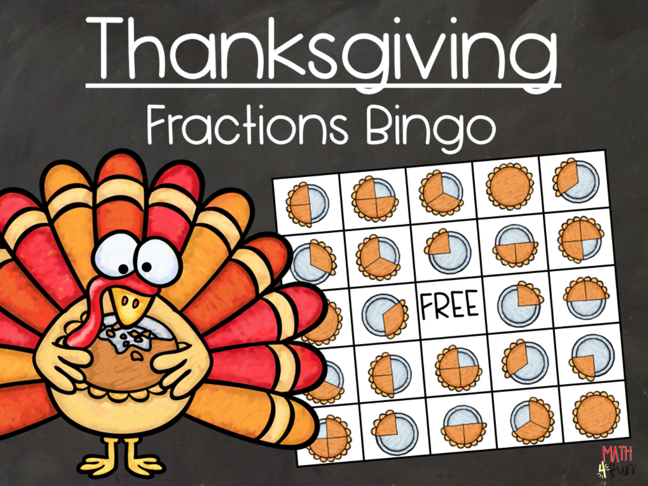 Thanksgiving Fraction Bingo From Math 4 Fun