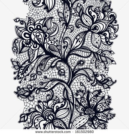 Abstract lace ribbon seamless pattern with elements flowers ...