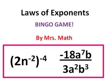 Laws of exponents bingo mrs math bingo games math bingo and math laws of exponents bingo mrs math solutioingenieria Images