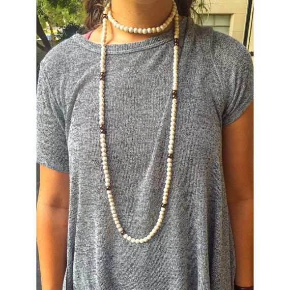 Custom handmade double wrap beaded necklace - in either white or black with gold accent beads