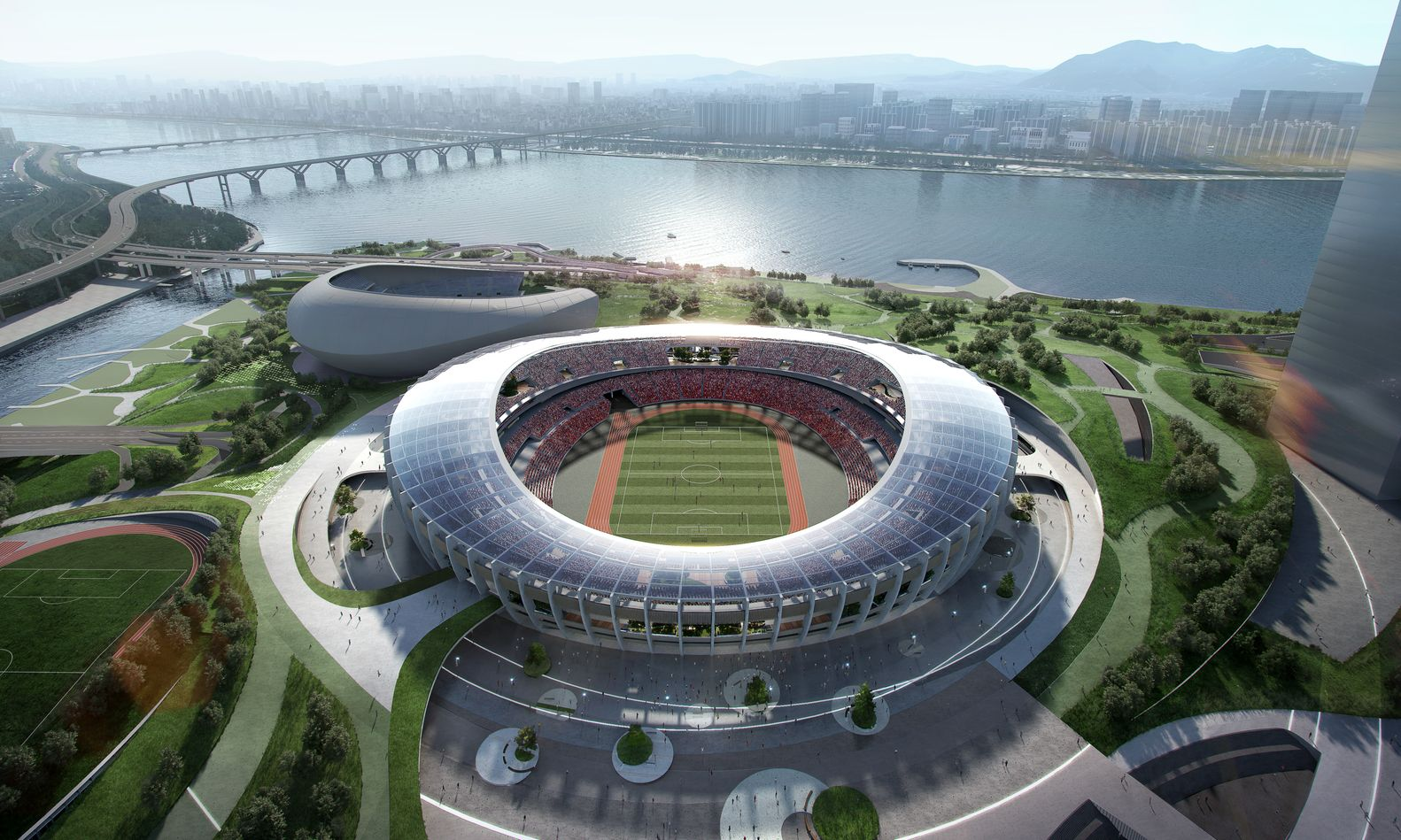 Gallery Of Winning Design Revealed For New Complex Around Seoul S Olympic Stadium 1 Stadium Amazing Architecture Complex