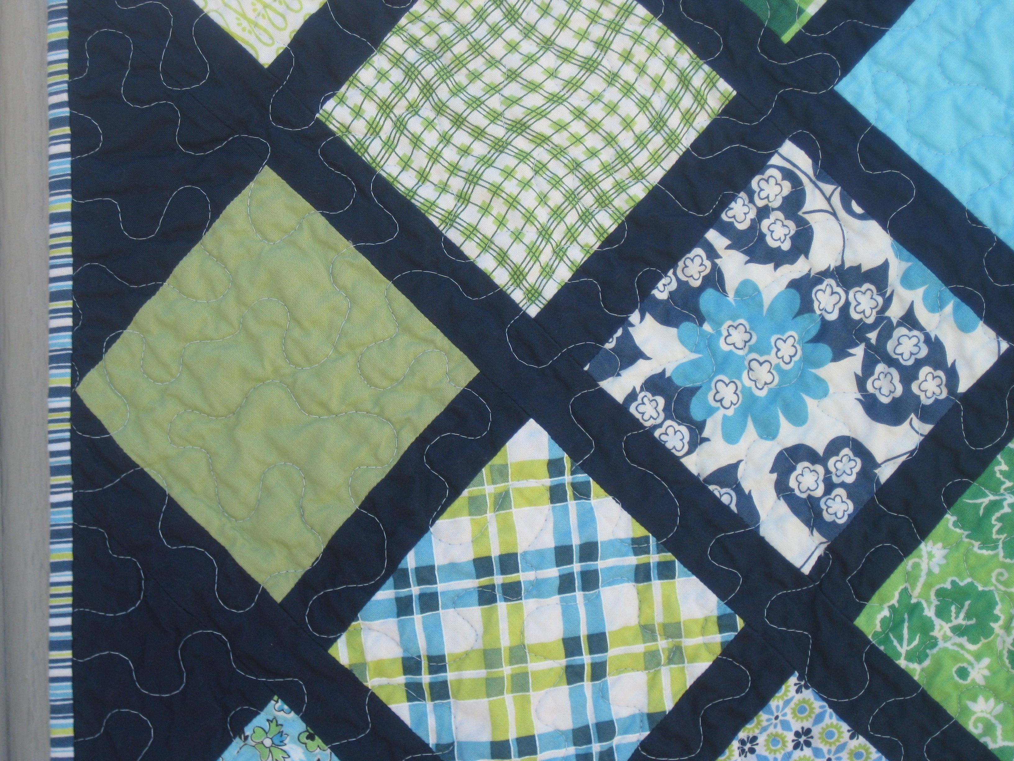 Baby boy lattice quilt using DS Quilts fabric and navy sashing ...