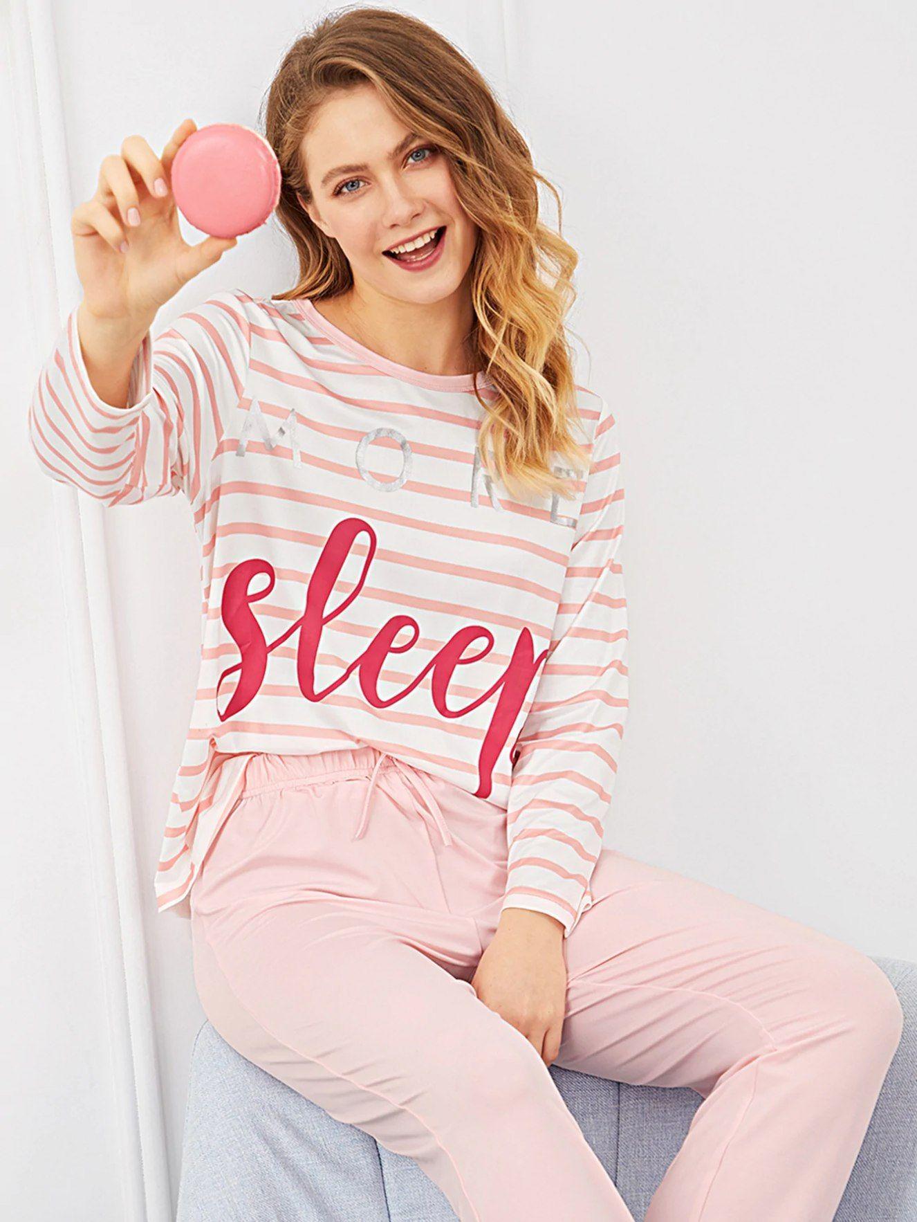 a6eef44eb3 $18 - Letter Print Striped Pajama Set - Loungewear #pajama #letter  #loungewear