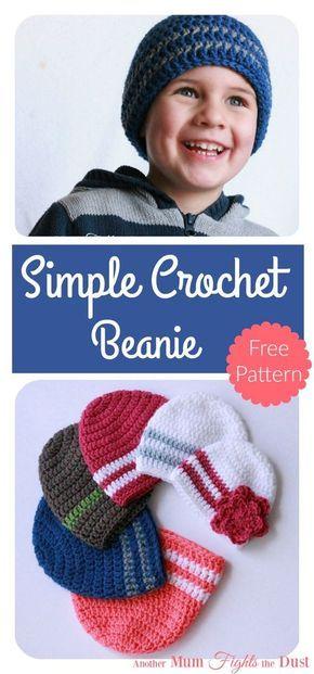 Simple Crochet Beanie Free Pattern   Easy crochet hat, Crochet ...