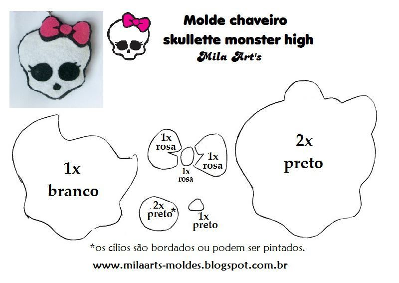 Molde Skullette Monster High Em Feltro Aniversario Monster