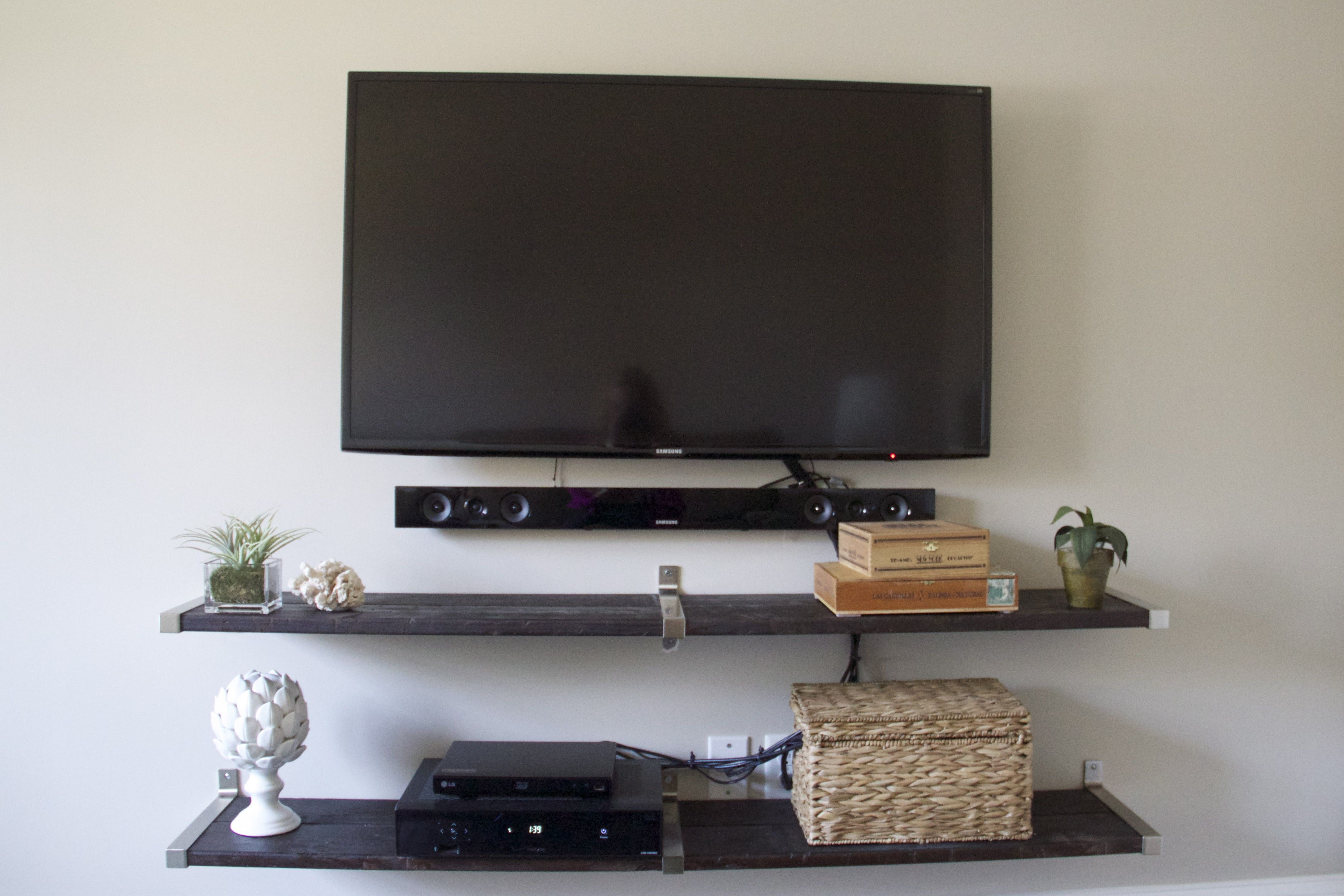 furniture 2 shelf under wall mounted tv design idea for collectible
