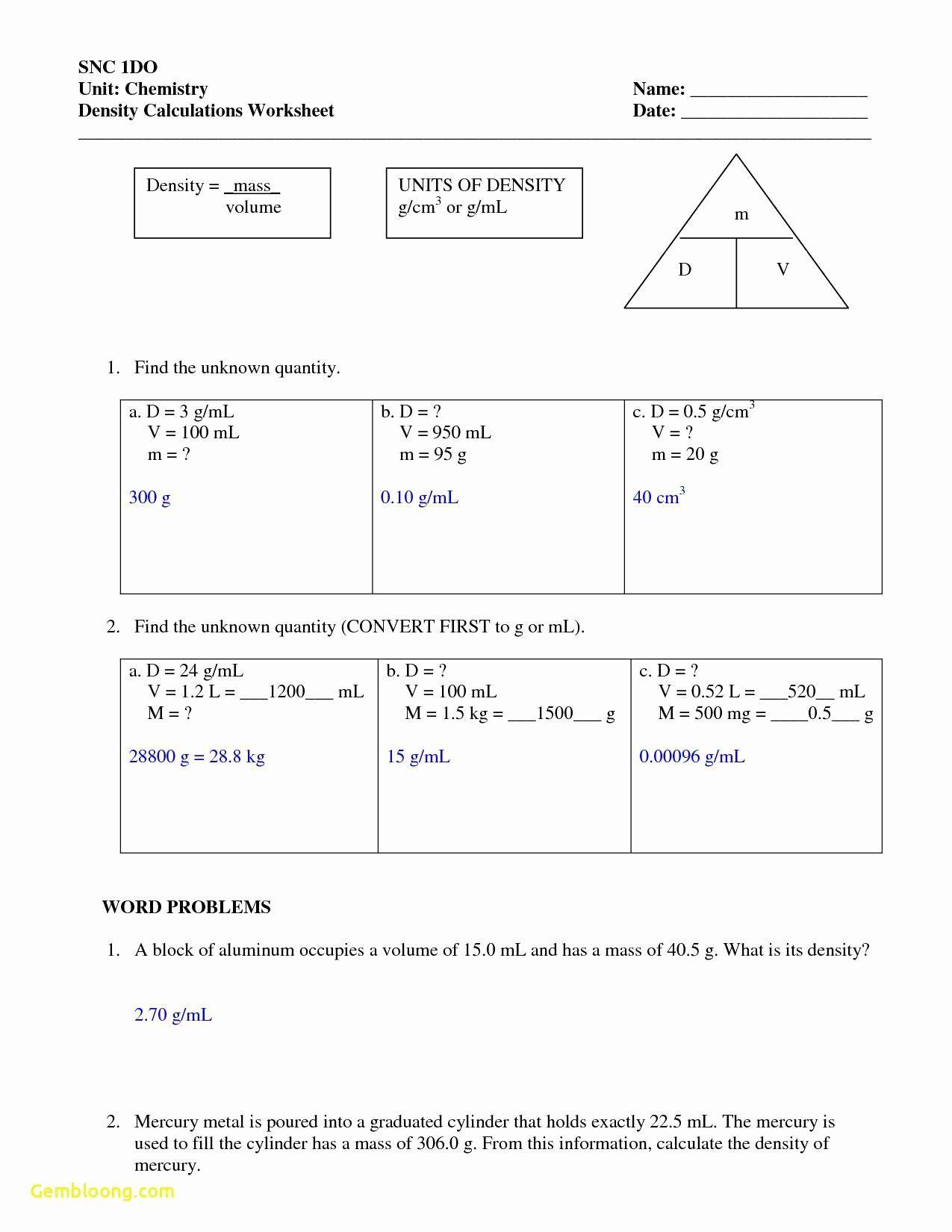 Volume By Water Displacement Worksheet Fresh Volume By Water Displacement Worksheet Cramerforcongress Density Worksheet 8th Grade Math Worksheets Worksheets