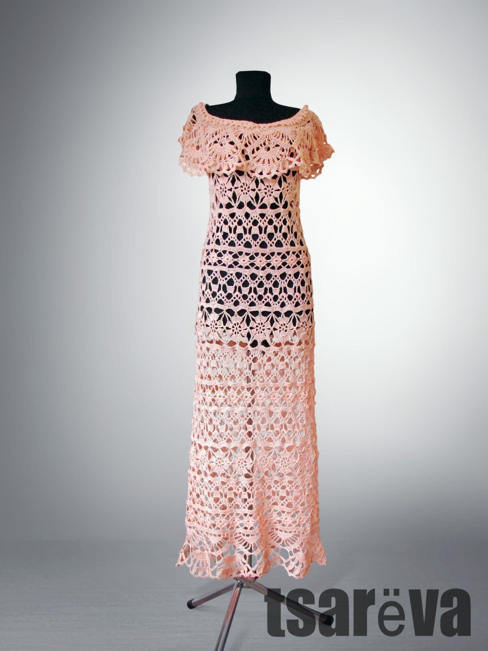 Gehaakte jurk Rachel. Witte delicate charme vrouwen bloem