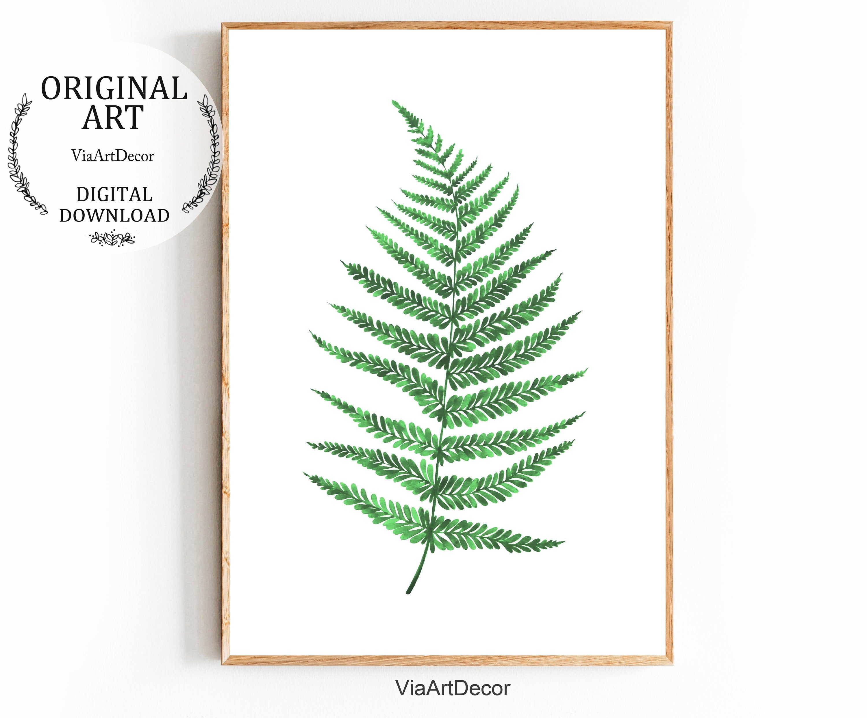 Botanical print Watercolor painting print Green fern prints download Fern Leaf Digital