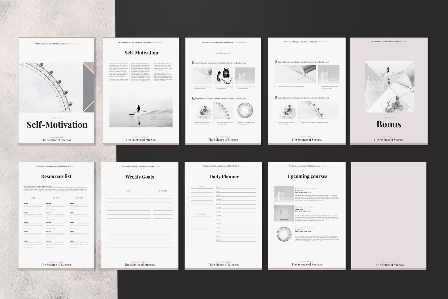 E Course Workbook Indesign Template Workbook Template Indesign