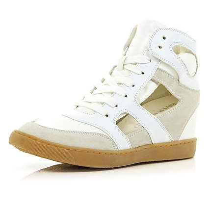 White concealed wedge cut out high tops £40.00