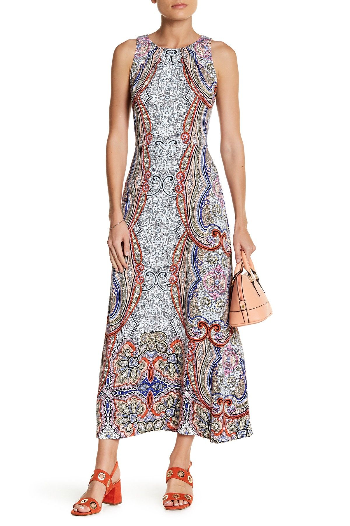 Sleeveless Print Shift Maxi Dress (Petite)