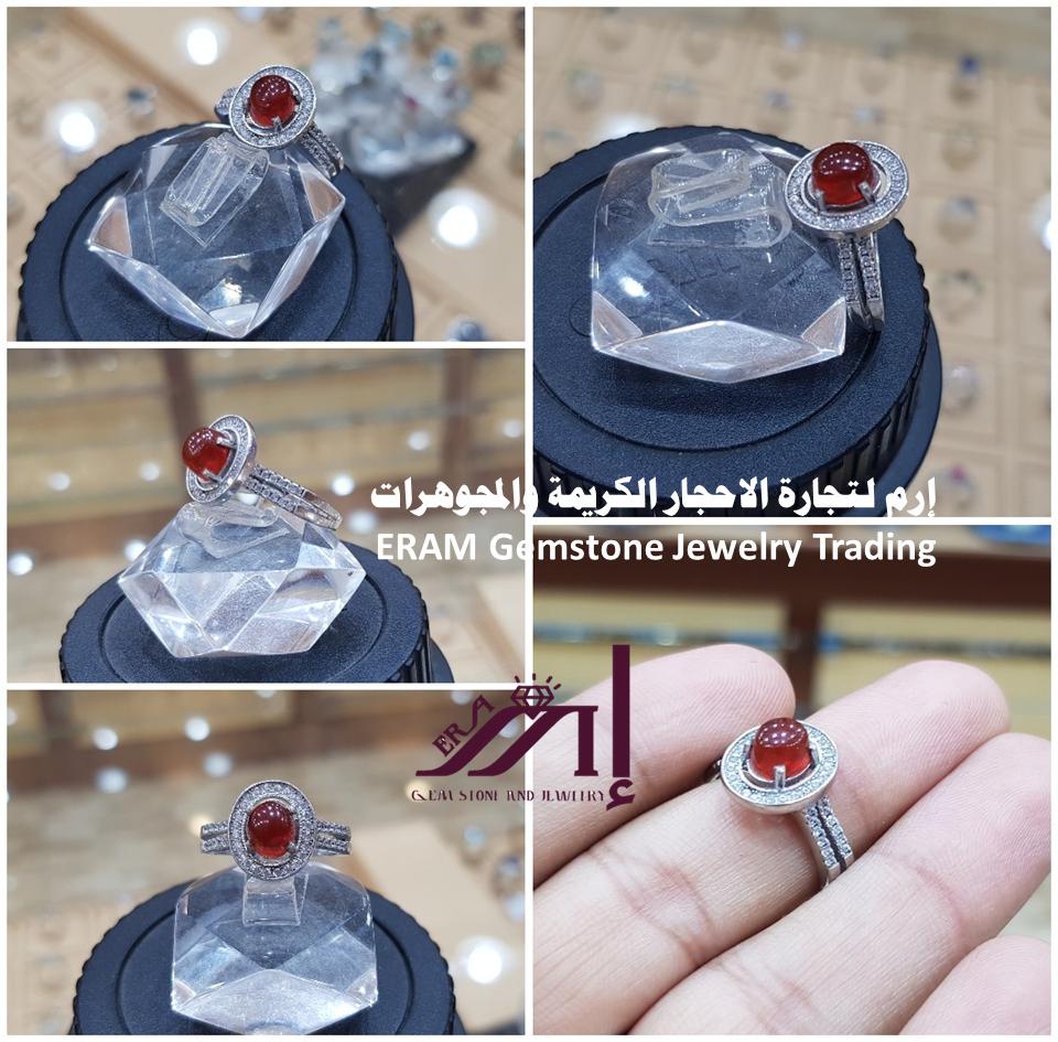 خاتم نسائي ناعم يمني عقيق احمر طبيعي 100 Agate للعرض Jewelry Rings Class Ring