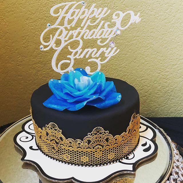 Elegant Cake 30 year old birthday party black fondant cake lace
