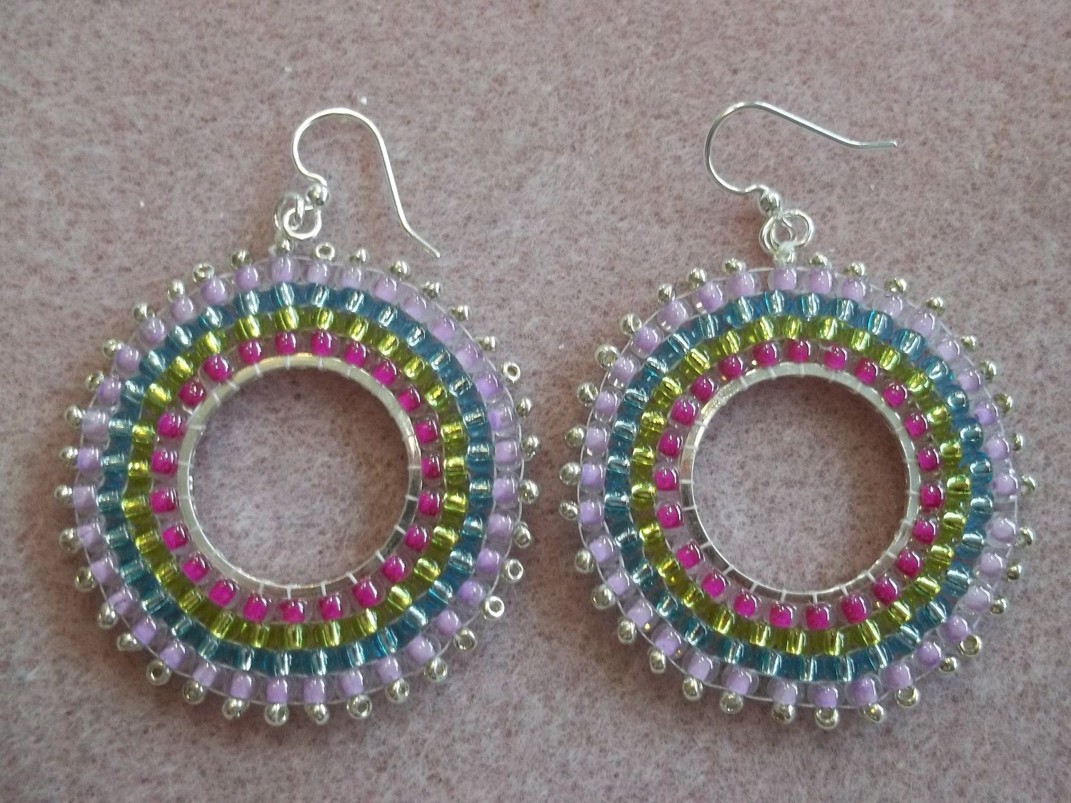 dangly brick earrings hoop stitch