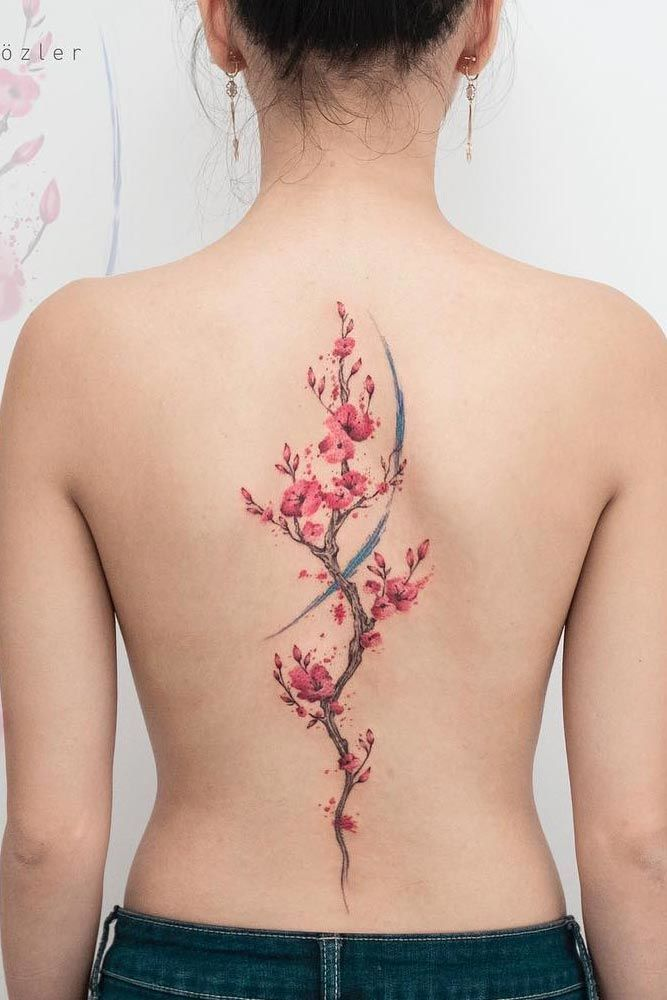 Tender Selection Of Cherry Blossom Tattoo For Your Inspiration Blossom Tattoo Watercolor Tattoo Tree Floral Back Tattoos