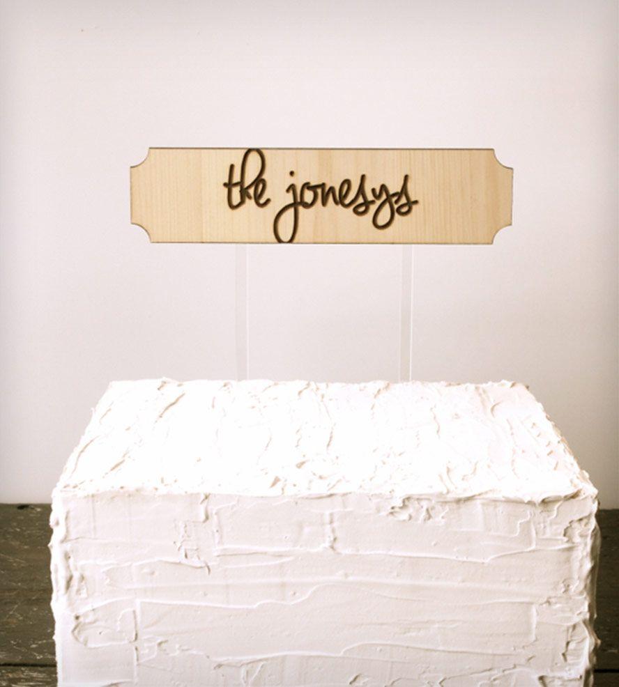 Custom family name wedding cake topper wedding wedding cake