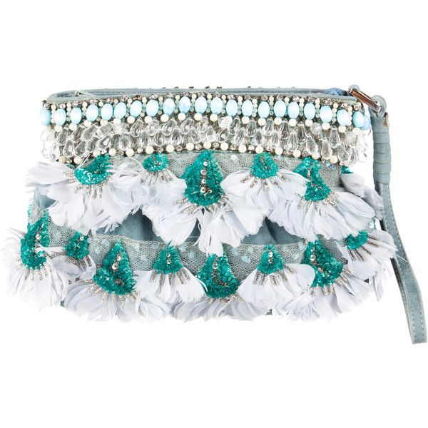 Pre-owned Blumarine Feather and Crystal Embellished Clutch ($260) ❤ liked on Polyvore featuring bags, handbags, clutches, blue, blue clutches, flat purse, blue purse, man bag and beaded hand bags