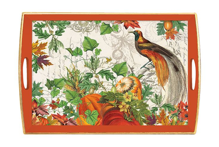 Autumn Harvest wooden decoupage tray from Michel Design Works. Give it as a Halloween hostess gift, so they can keep using it through Thanksgiving!