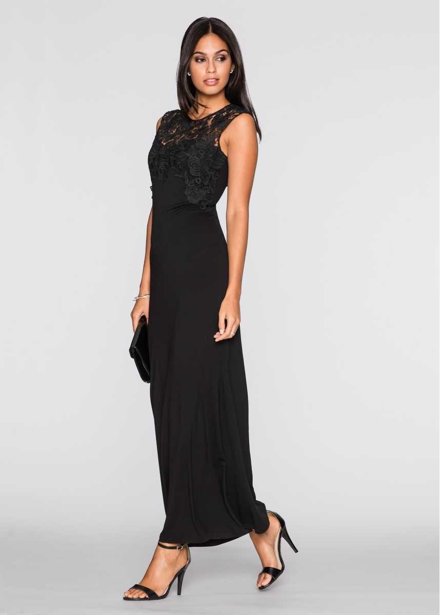 Feines Abendkleid mit Crochet-Spitze - schwarz  Kleider, Maxi