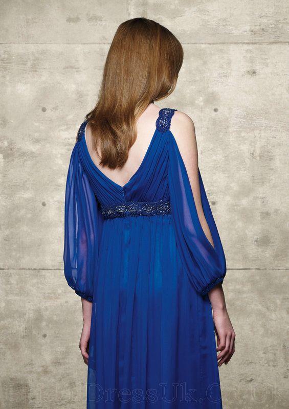 Dark Blue Handmade Beading Designer Chiffon Ruffles Mother Of Bride Wear