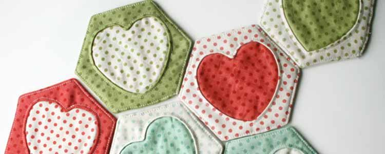 Tutorial Hexágonos con corazones / Cosmo Cricket | Fabric craft ...