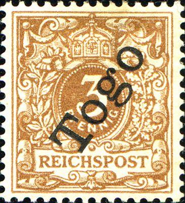Togo 1897 Overprint on german regulars  [MiNr 1 b, Sc 1a] 3pf  Light ochre brown