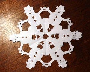 paper snowflake cutting pattern snowman bonhomme de. Black Bedroom Furniture Sets. Home Design Ideas