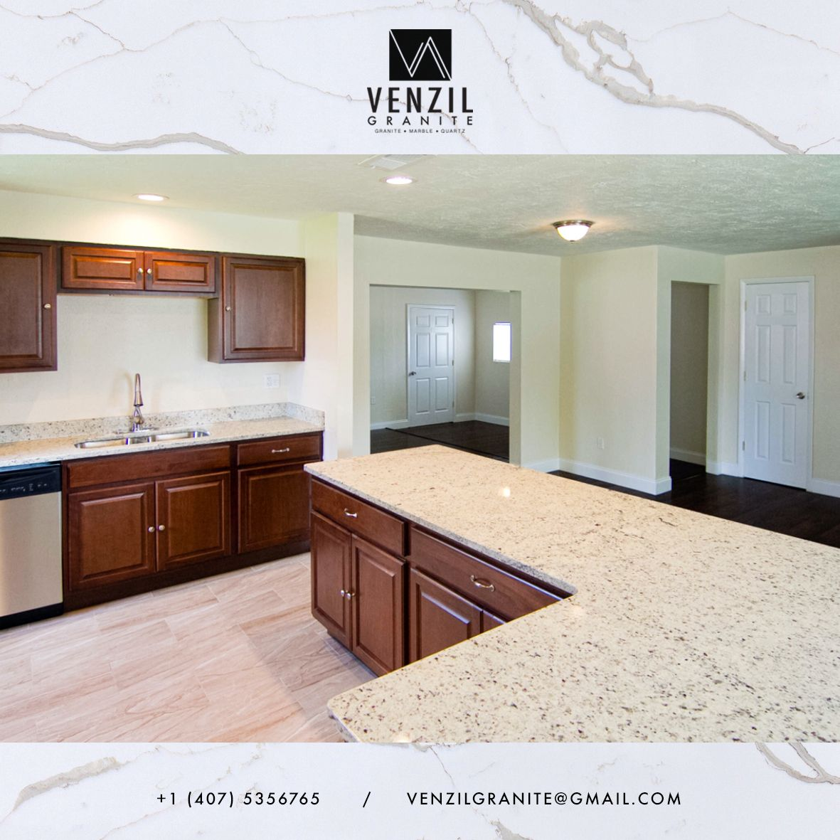 Dallas White Granite / Kitchen Countertop Made By Team Venzil. We Fabricate  And Install Kitchen Countertops, Vanities Or Any Project You May Have.