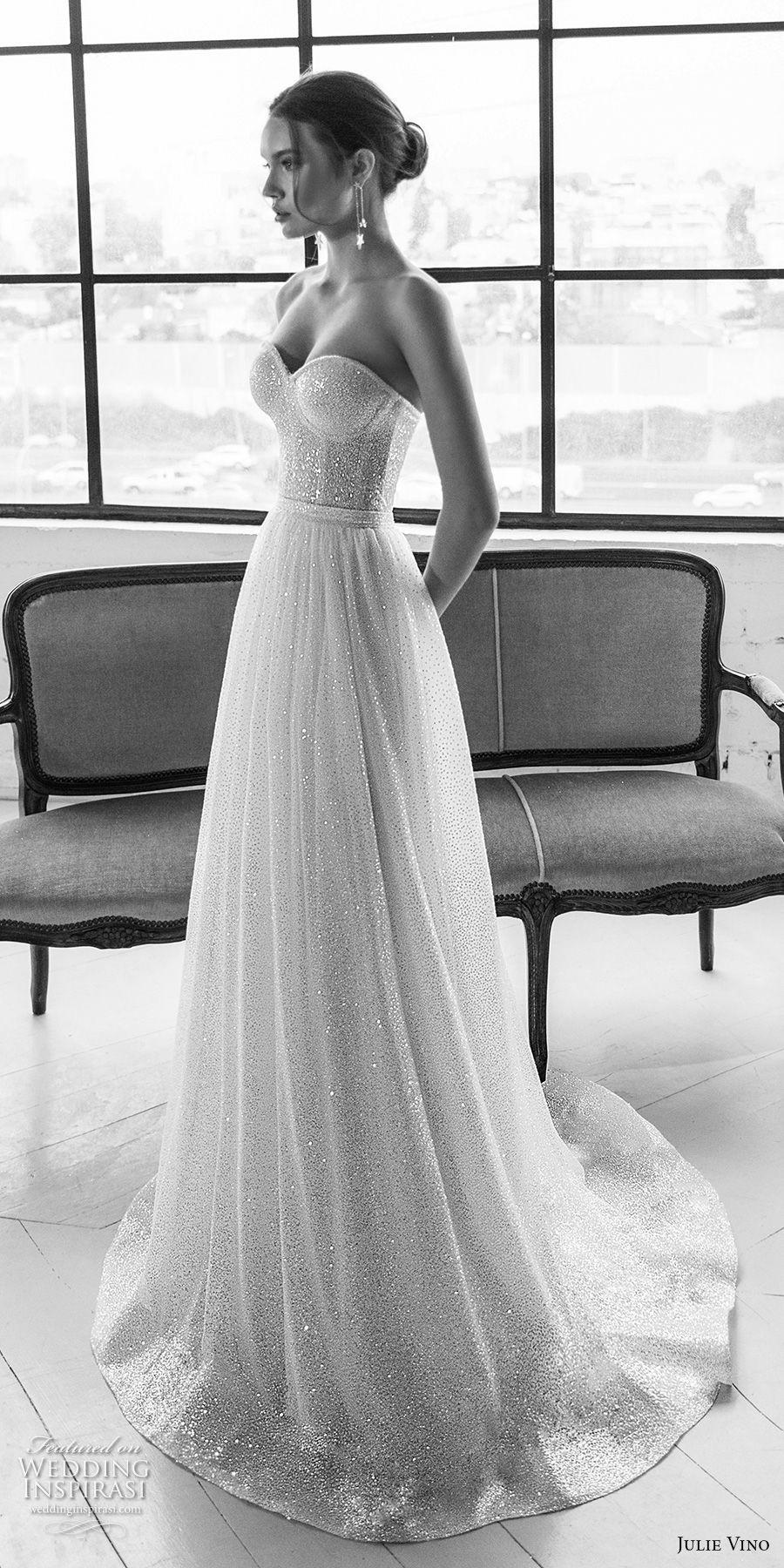 Lace over tulle wedding dress january 2019 julie vino  romanzo braut trägerlos Schatzausschnitt volle