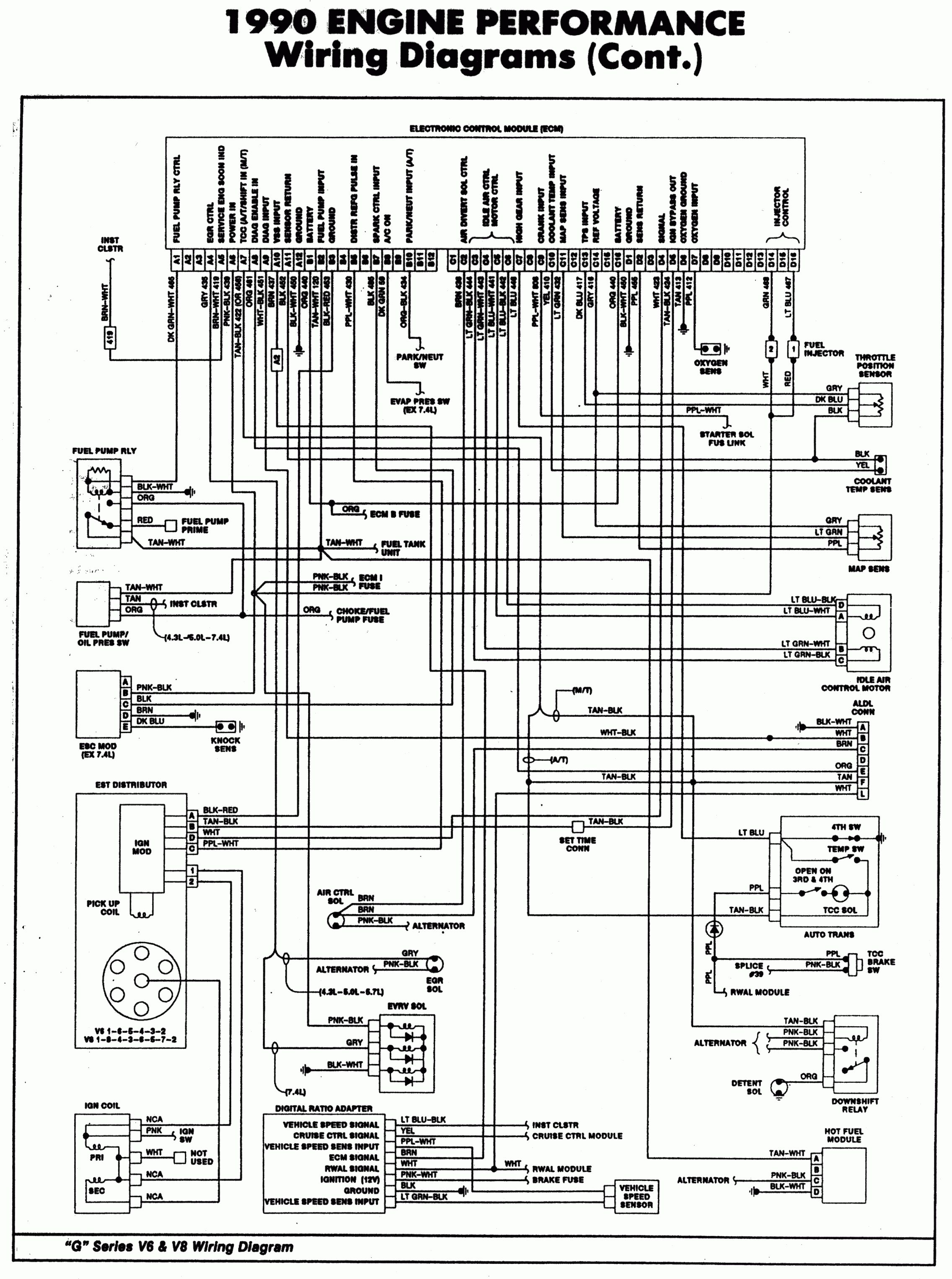 1990 Engine Performance Wiring Diagram With Control Module And