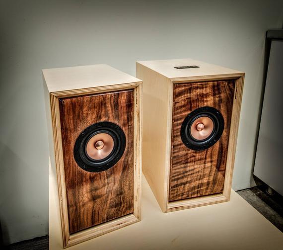 Audiophile Hifi Bookshelf Speakers With Bluetooth Connectivity Handmade Bookshelf Speakers Audiophile Plywood Cabinets