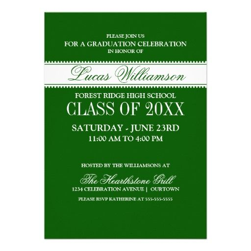 Green Formal Graduation Announcements Pinterest